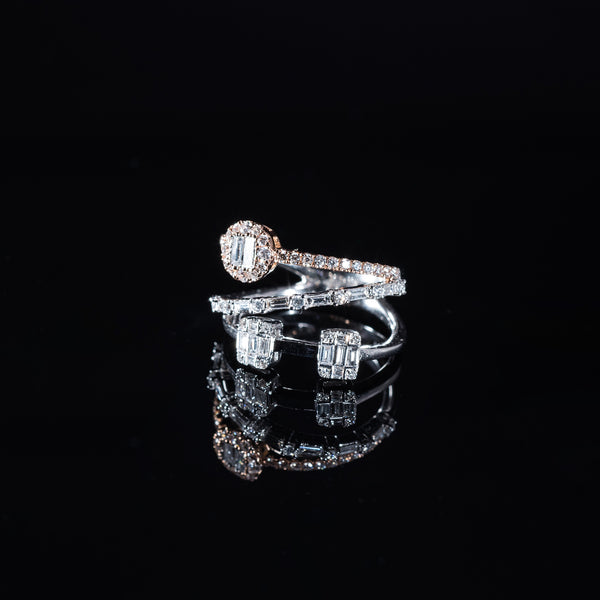 18K Rose and White Gold Diamond Triple Ring | Jress.com