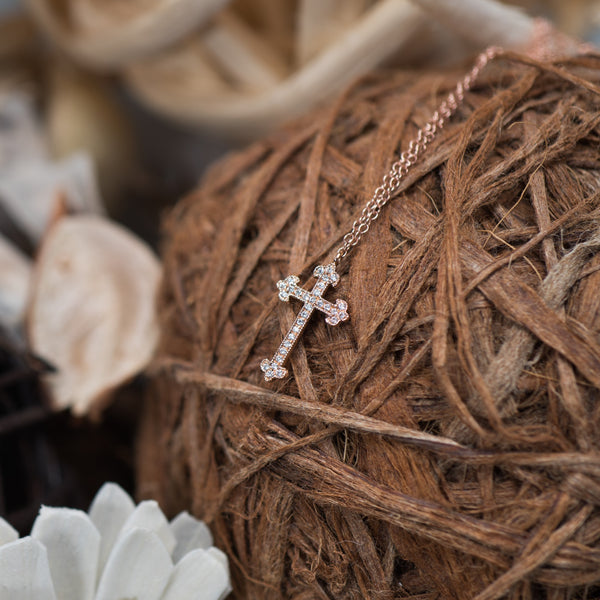 Cross 18K Rose Gold Diamond Necklace | Jress.com