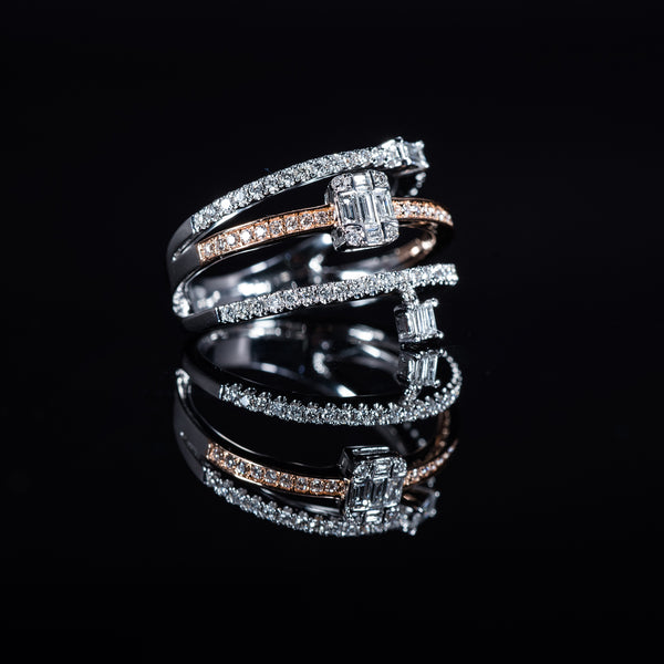 18K White And Rose Gold Diamond Triple Ring With A Moving Charm | Jress.com