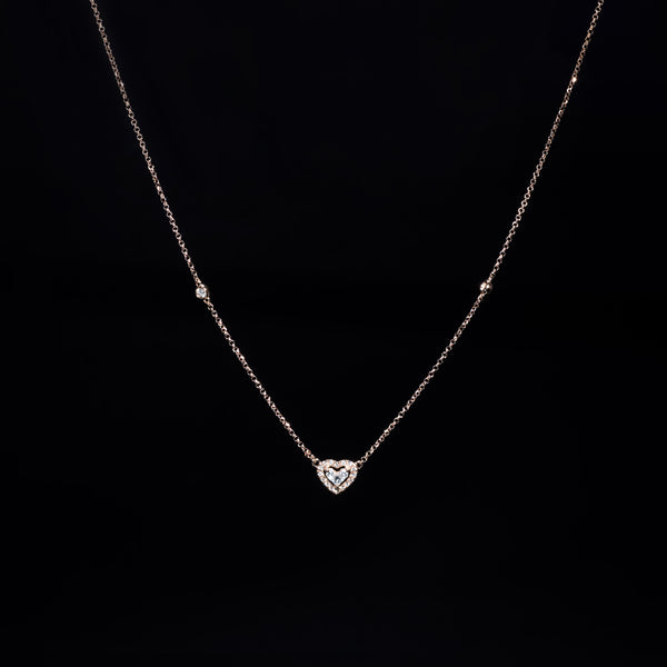 Heart Diamond Necklace - 18K Rose Gold | Jress.com