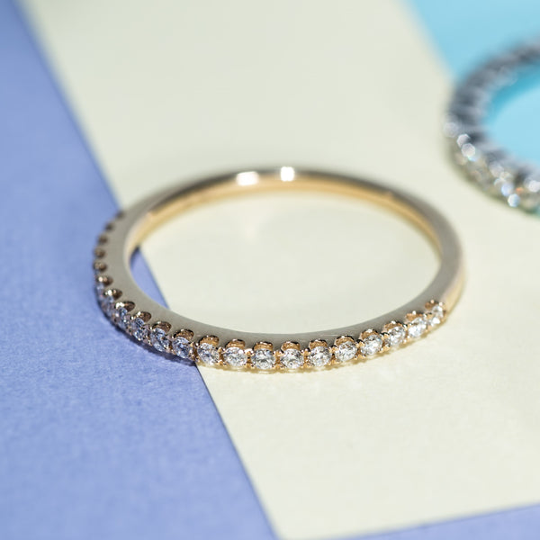 Half Eternity Diamond Ring - 18K Yellow Gold | Jress.com