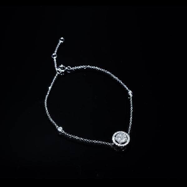 18K White Gold Diamond Bracelet (Round L) | Jress.com