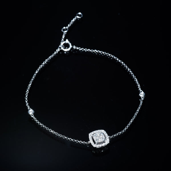 18K White Gold Diamond Bracelet (Square L) | Jress.com
