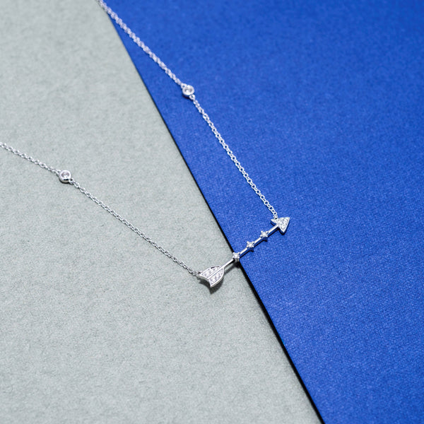 18K White Gold Diamond Arrow Necklace | Jress.com