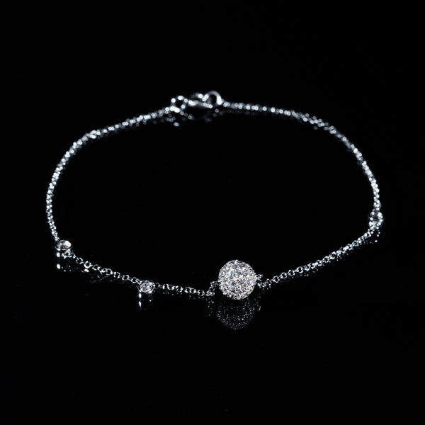 18K White Gold Diamond Sphere Bracelet | Jress.com