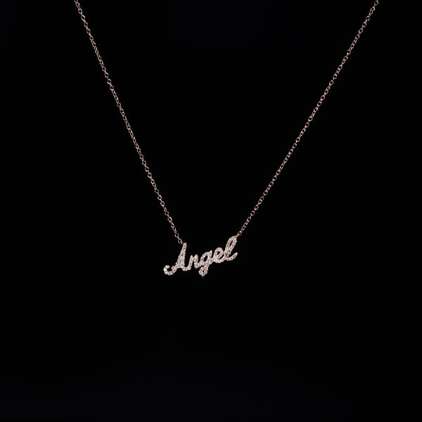 18K Angel Rose Gold Diamond Necklace | Jress.com