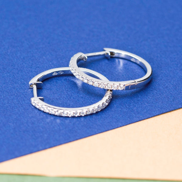 18K White Gold Diamond Loop Earrings | Jress.com