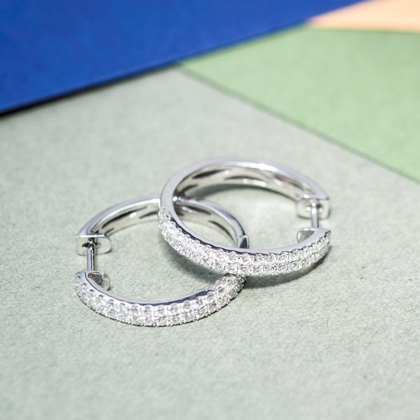18K White Gold Diamond Double Loop Earrings | Jress.com