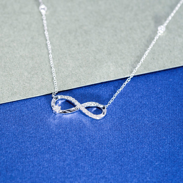 18K White Gold Diamond Infinity Necklace | Jress.com