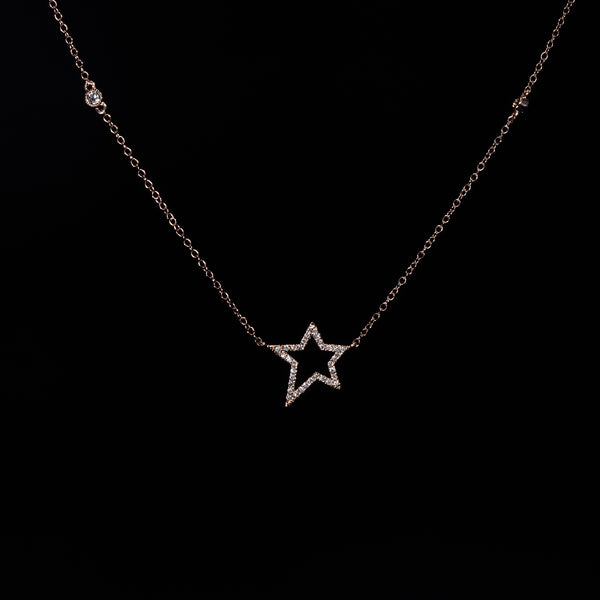 18K Rose Gold Diamond Star Necklace | Jress.com