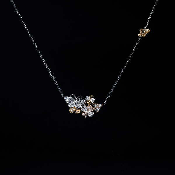 18K Tri-Gold Diamond Butterfly and flower Necklace | Jress.com
