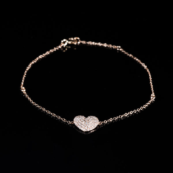 18K Rose Gold Diamond Heart Necklace | Jress.com