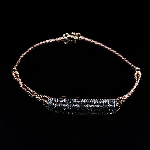 18K Rose Gold Black Diamond Bracelet | Jress.com