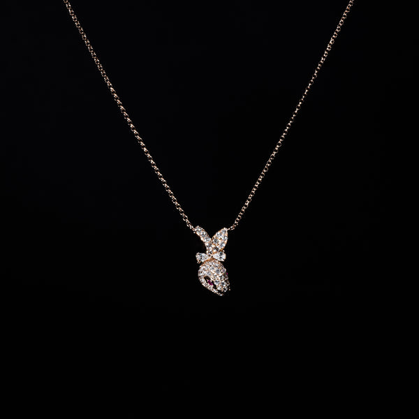 18K Rose Gold Diamond Rabbit Necklace | Jress.com