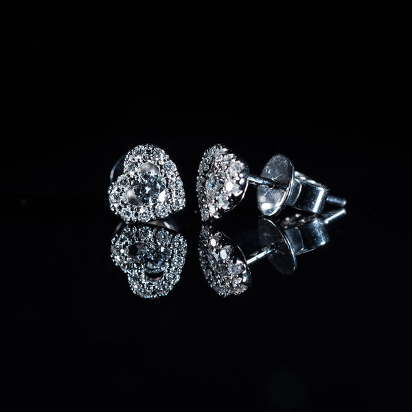 18K White Gold Diamond Heart Earrings | Jress.com