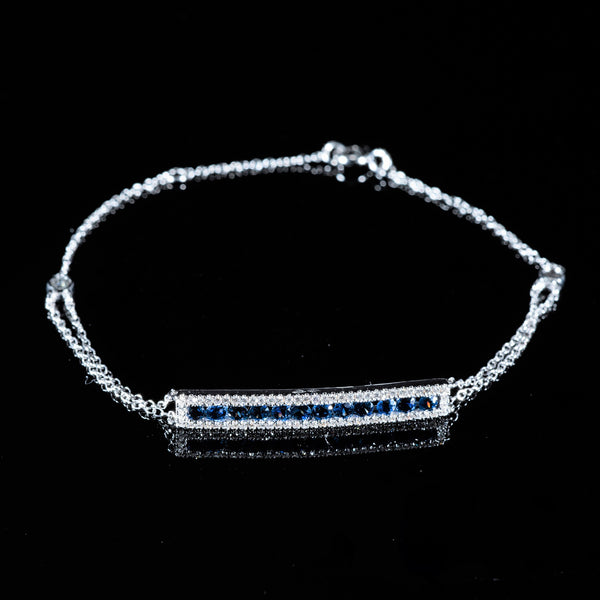 18K White Gold Diamond and Sapphire Bracelet | Jress.com