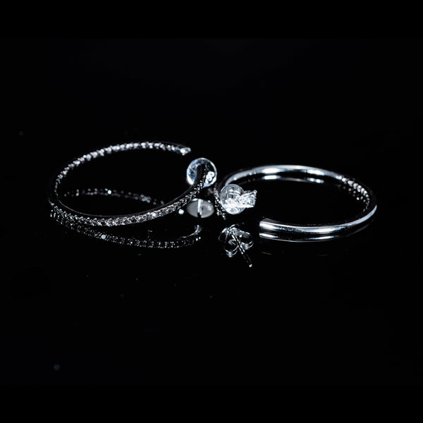 White Gold Black Diamond Loop Earrings | Jress.com