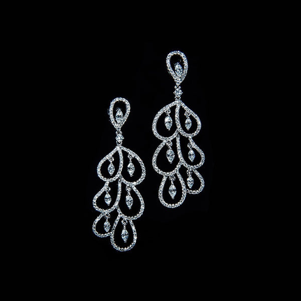 Rain Drops - 18K Diamond Chandelier Earrings