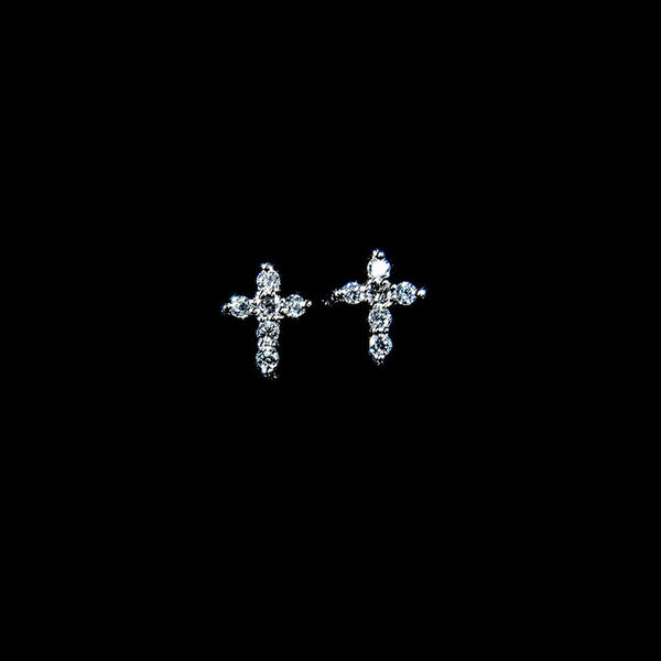 Diamond Cross - 18K White Gold Diamond Stud Earrings