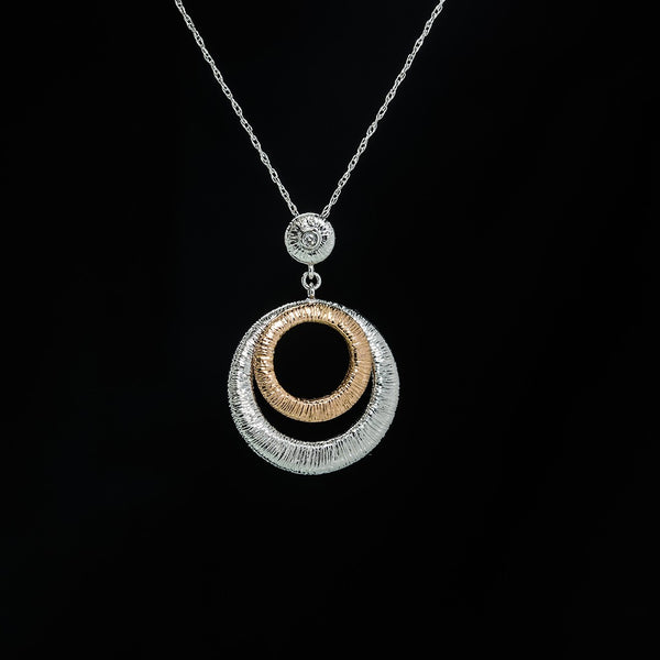 Rose and White Circles - 14K White and Rose Gold Pendant (Necklace not included)
