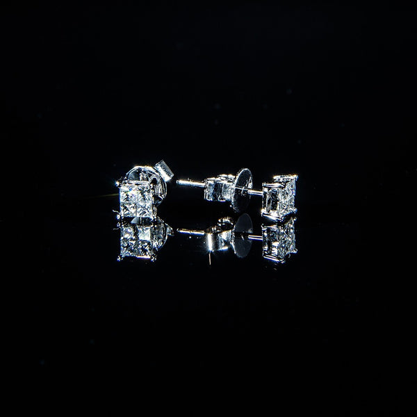 Four in One - 18K White Gold Diamond Stud Earrings