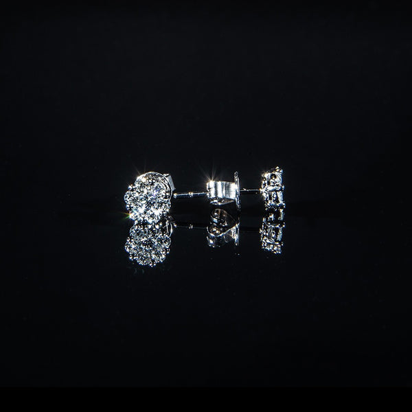 Cluster - 18K White Gold Diamond Cluster Stud Earrings