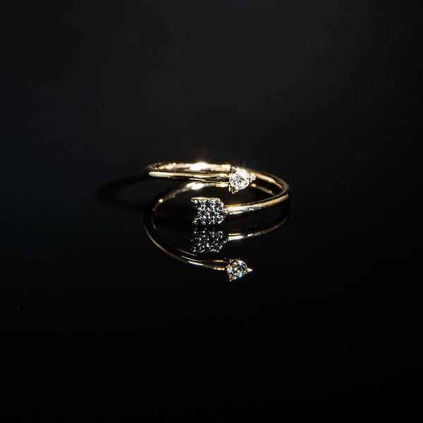 Trendy Black and White Arrow Ring - 14K Yellow Gold Diamond Ring