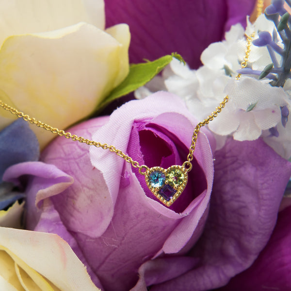Heart Necklace with Color Gemstones