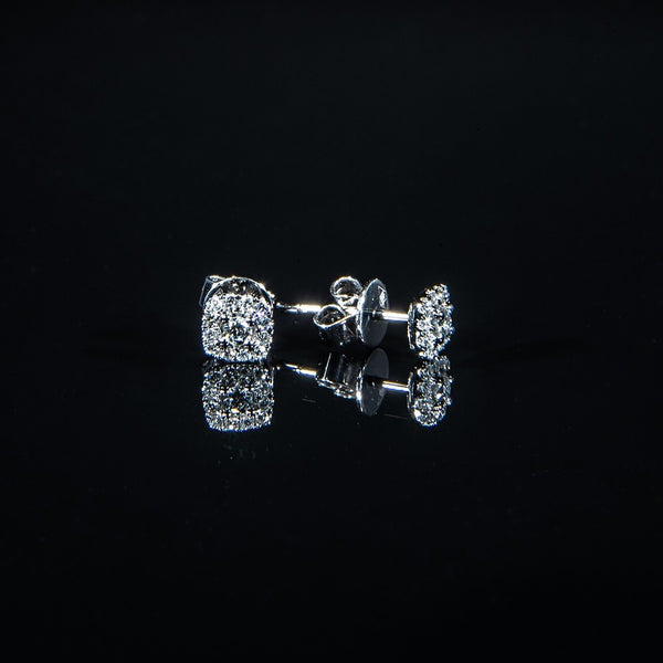 Cushions - 18K White Gold Diamond Stud Earrings
