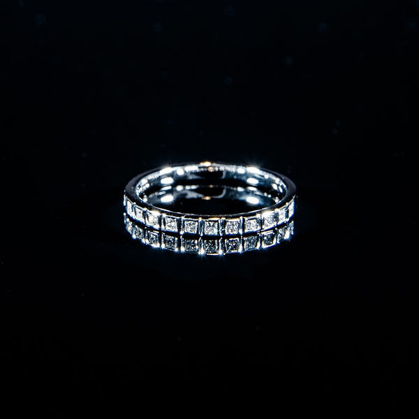 Blink in the boxes - 18K White Gold Square Diamond Bezel Ring