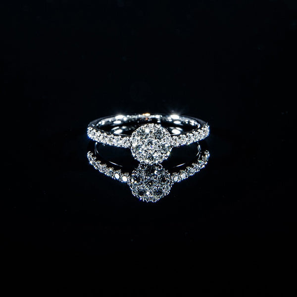 Cluster of Diamonds - 18K White Gold Diamond Cluster Ring