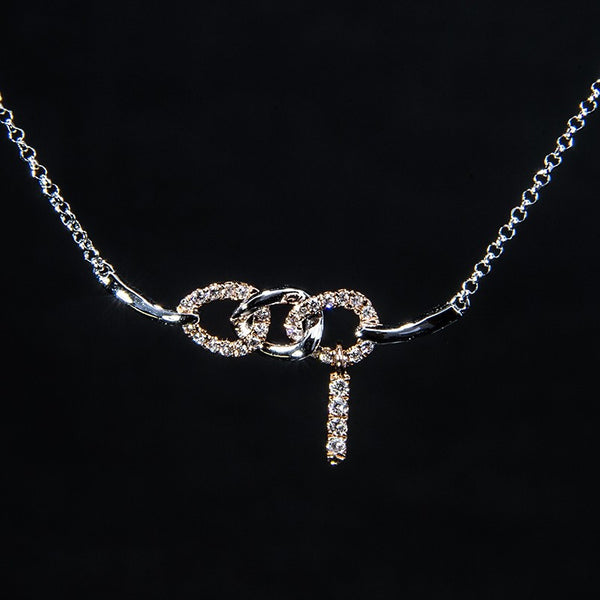 Bonded - 18K White Gold, Rose Gold Diamond Necklace