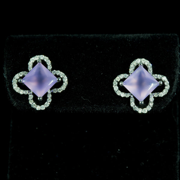 18K White Gold Lavender Chalcedony with Diamond Earrings