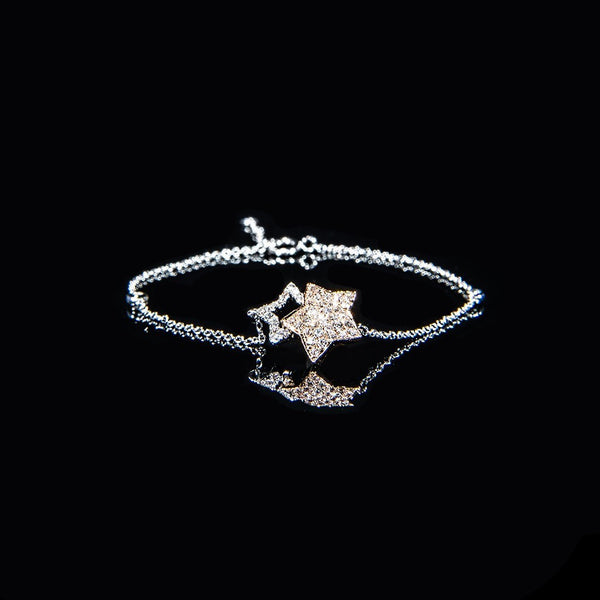 Little Twin Stars - 18K White and Rose Gold Diamond Bracelet