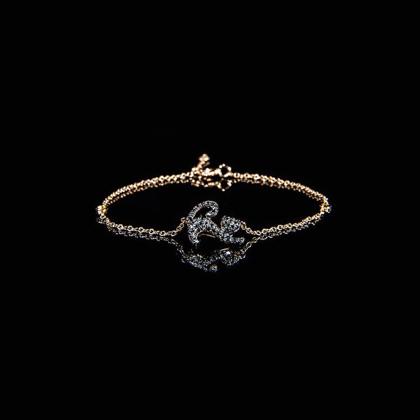 Stretching Cat - 18K Rose Gold Black Diamond Bracelet