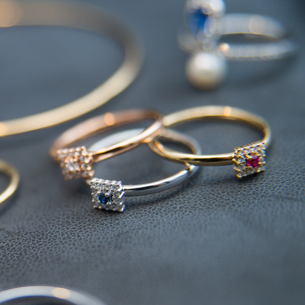 Stackable Rings with Different Shapes - 18K Three Matching Rings