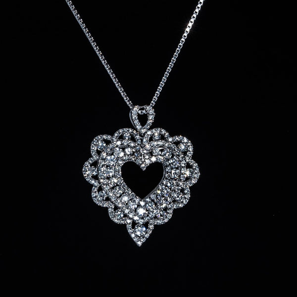 Open Back Lace Heart - 18K White Gold Diamond Pendant (Necklace Not Included)