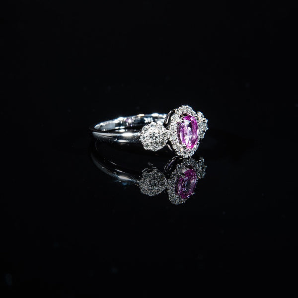 18K White Gold Adorable Pink Sapphire Ring