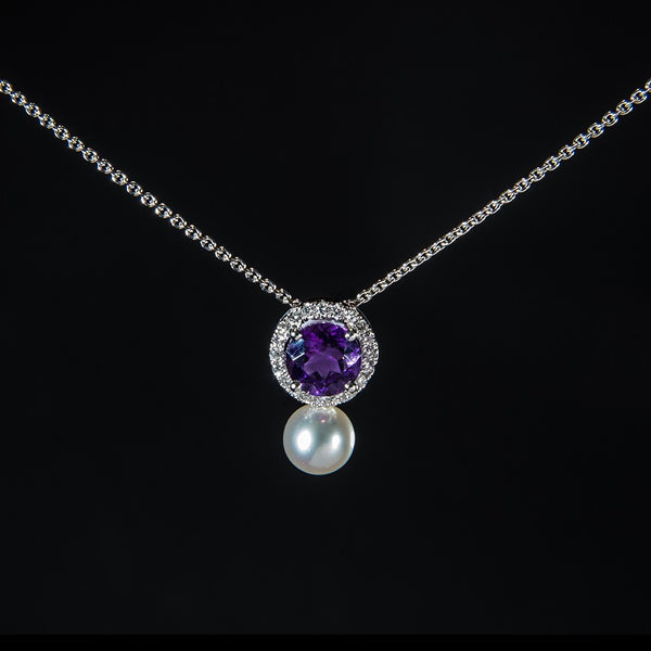Mysterious Purple and Fresh White Pearl - 18K White Gold Pendant (Necklace not included)