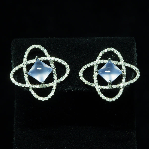 18K White Gold Blue Chalcedony with Diamond Earrings