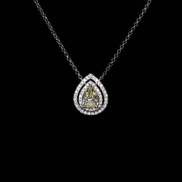 Pear Shape Halo Necklace - 18k Yellow Diamond Necklace
