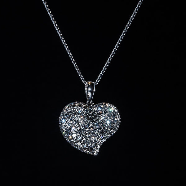 Indented Heart on Heart - 18K White Gold Diamond Pendant (Necklace Not Included)