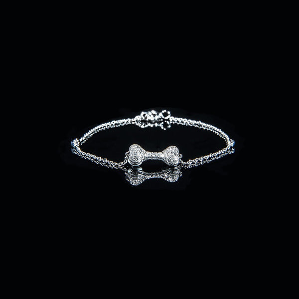 Bone Bracelet - 18K White Gold Diamond Bracelet