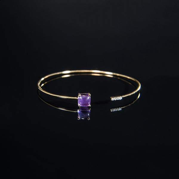 18K Trendy Wire Bangle with Cabochon Amethyst and Diamonds