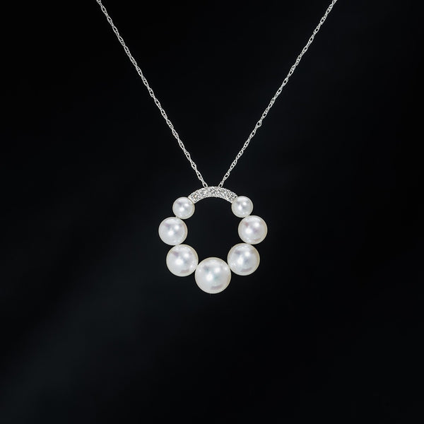 Round Pearl and Diamond Pendant (Necklace not included)