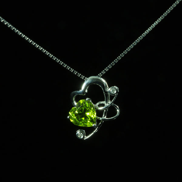 18K White Gold Peridot with Diamond Pendant