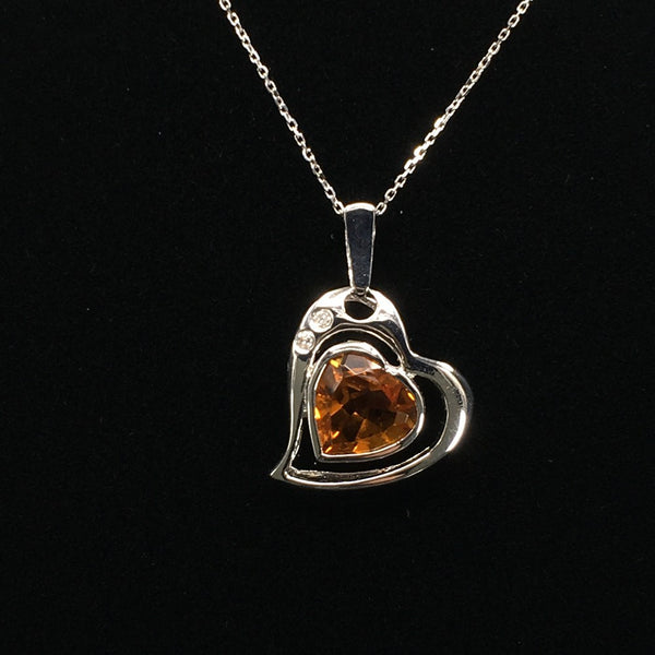 18K White Gold Citrine with Diamond Pendant