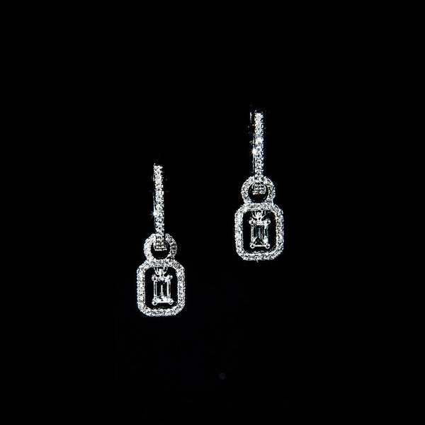 Hoop and Charm - 18K White Gold Hoop and Charm Diamond Earrings