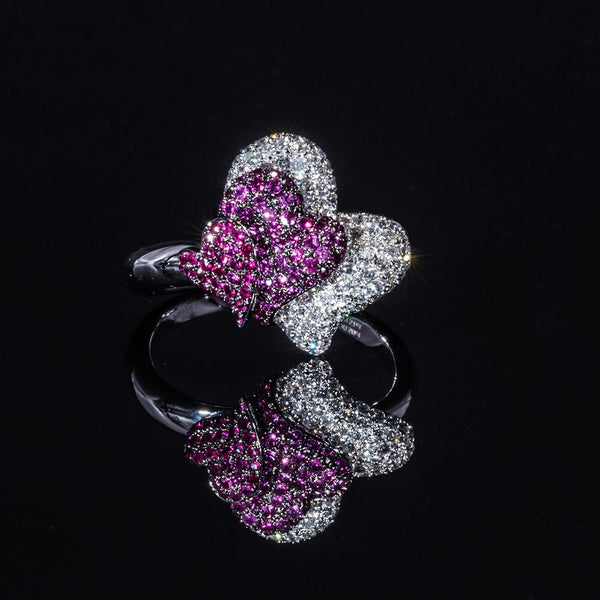 Together - 18K White Gold Ruby and Diamond Ring