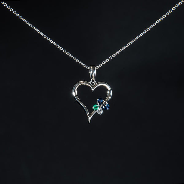 Heart and Little Butterfly - 18K White Gold Pendant (Necklace not included)